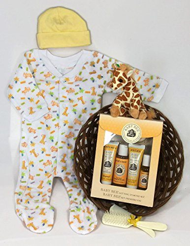 Sunshine Gift Baskets - Giraffe Baby Winter Sleeper Set with a Burt's Bees Getting Started Kit