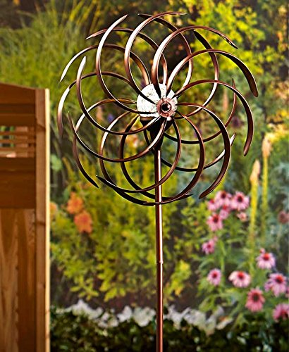 Double Spiral Solar Garden Spinner