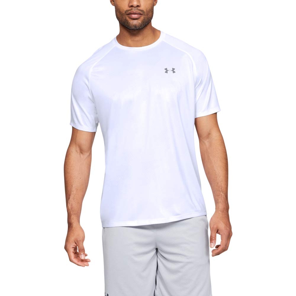 Under Armour Tech Printed Short-sleeve Shirt, White (101)/Mod Gray, XX-Large by Under Armour