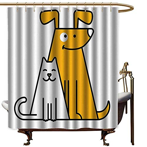 Waterproof Bathtub Curtain,Cartoon Cats and Dogs Human Best Friends Forever Kids Nursery Room Art Print,Waterproof Colorful Funny,W94x72L,Black White and Apricot