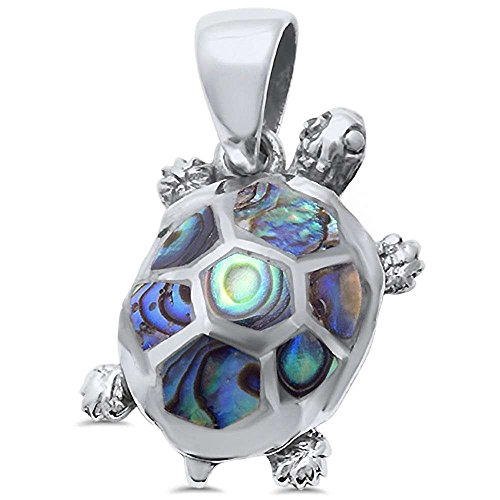 Oxford Diamond Co Sterling Silver Natural Stone Turtle Pendant Charm (Three Colors Available) (Abalone Shell) Abalone Turtle