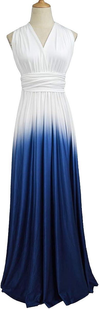IMEKIS Damen Multi-Tragen Kleid Farbverlauf Sommerkleid /Ärmellos V-Ausschnitt Bandage Cocktailkleid Formal Abendkleid Elegant Brautjungfer Hochzeit Partykleid Lang Festlich Prom Ballkleid S XL