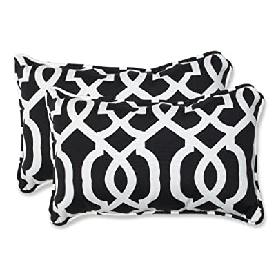 Pillow Perfect Outdoor New Geo Rectangular Throw Pillow, Black/White, Set of 2 - Includes two (2) outdoor pillows, resists weather and fading in sunlight; Suitable for indoor and outdoor use Plush Fill - 100-percent polyester fiber filling Edges of outdoor pillows are trimmed with matching fabric and cord to sit perfectly on your outdoor patio furniture - patio, outdoor-throw-pillows, outdoor-decor - 51D35us7w L. SS400  -