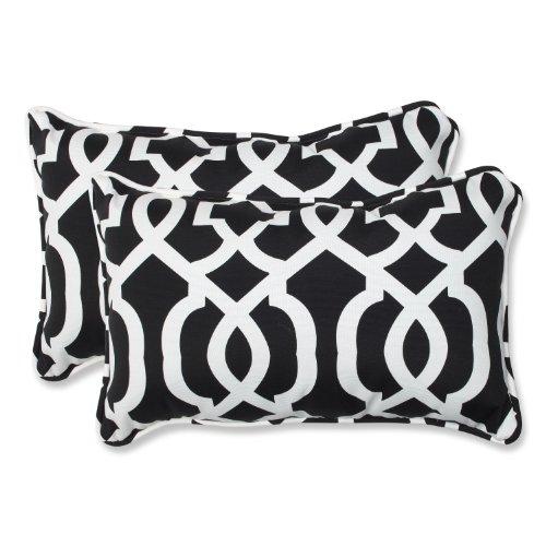 Pillow Perfect Outdoor New Geo Rectangular Throw Pillow, Black/White, Set of (Geo Geometric Throw)