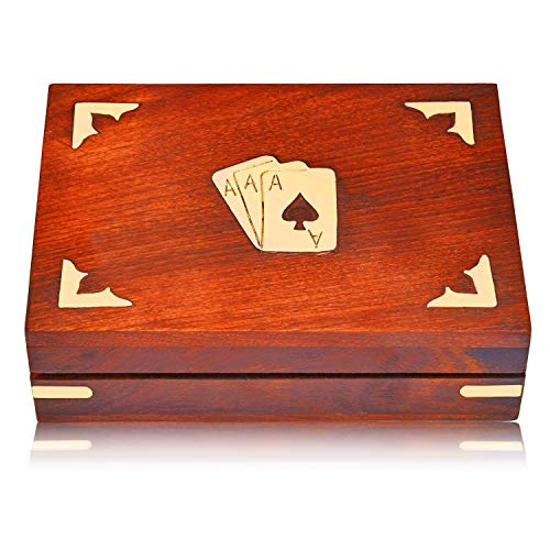(Unique Birthday Gift Ideas Handcrafted Classic Wooden Playing Card Holder Deck Box Storage Case Organizer with 2 Sets of Premium Quality 'Ace' Playing Cards Anniversary Housewarming Gifts Him Her)