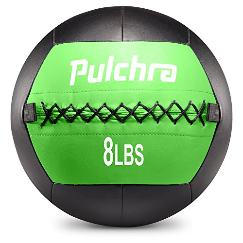 PULCHRA Soft Medicine Ball Leather Medical Slam Weight Wall Ball Fitness Training Workout Exercise for Better Power Balance Arm Leg Waist Muscles Build 2 4 6 8 10 12 14 16 18LB (8LB)