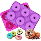 Ozera 2-Pack Donut Baking Pan, Non-Stick Donut Mold, Silicone Baking Molds for Donuts, Easy to Bake Full Size Perfect Shaped Doughnuts - Dishwasher, Oven, Microwave, Freezer Safe