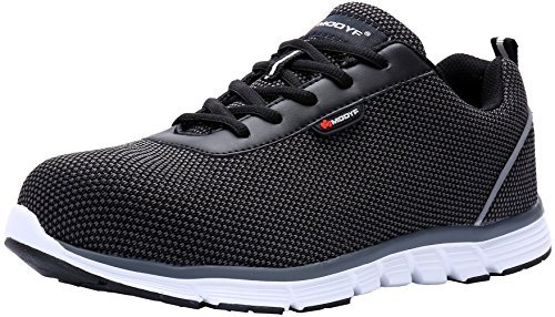 MODYF Steel Toe Work Safety Shoes Reflective Casual Breathable Outdoor Puncture Proof Footwear (11, Flying Black)