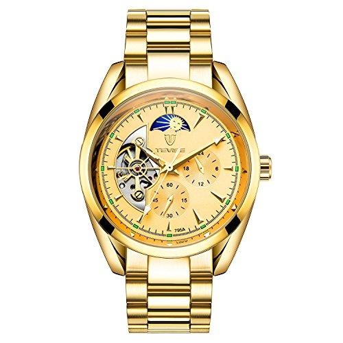 682c8cf45c TEVISE ビジネス 腕時計 メンズ アナログ ステンレス ベルト ケース 24時間 自動巻き ウォッチ (ゴールド)