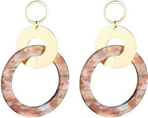 JIEHED Women Leopard Earrings Metal Resin Round Drop Earrings Geometric Jewelry Gifts Earrings for Women Girl