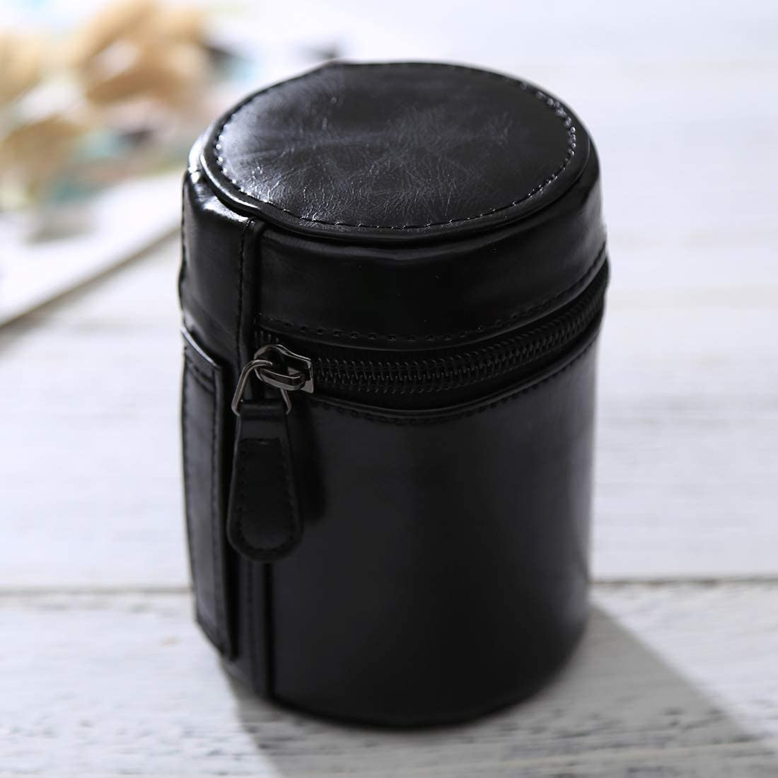 HoodensYHM Small Lens Case Zippered PU Leather Pouch Box for DSLR Camera Lens Size: 11x8x8cm Black Color : Brown