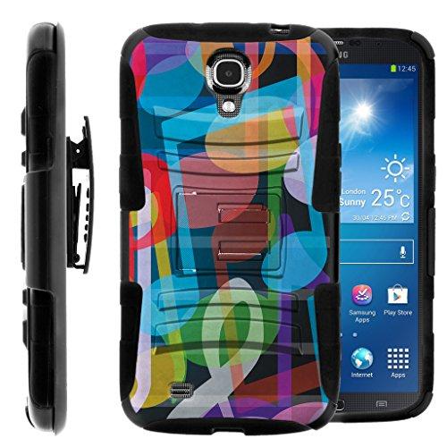 TurtleArmor | Compatible for Samsung Galaxy Mega Case | Mega 6.3 Case [Hyper Shock] Heavy Impact Proof Silicone Case Kickstand Belt Clip Holster Music Design - Colorful - Att Galaxy Cases Samsung Mega