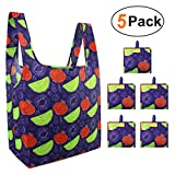 Reusable Grocery Shopping Bags Foldable Bags With Cute Fruits 5 Pack Cloth Bags