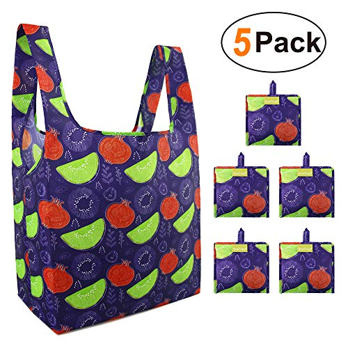 Reusable Grocery Shopping Bags Foldable Bags With Cute Fruits 5 Pack Cloth Bags for Groceries Shopping Bags 50LBS Fashion Reusable Shopping Tote for Gifts Eco Friendly Washable Waterproof]()