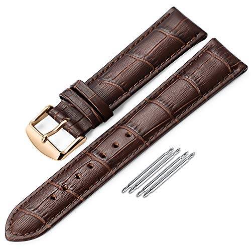 iStrap Genuine Calf Leather Watch Band Alligator Grain Padded for Men Women Color & Width (18mm,19mm, 20mm,21mm,22mm or 24mm) Gold Silver (Genuine Calf Leather Watch Band)