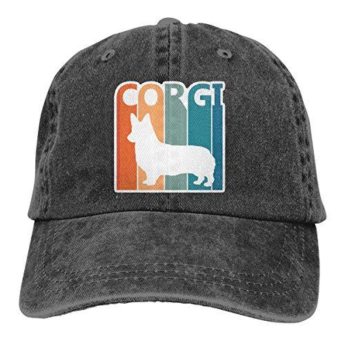 - Vintage Washed Distressed Cotton Baseball Caps Corgi Dad Hat Black