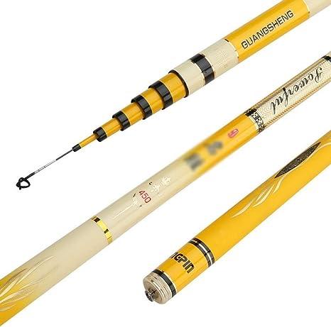 NO BRAND 4H Carbono Taiwán Pesca Calamar 28 Caña de Pescar tónica Caña de Pescar Caña de Pescar 3.9 Metros 7.2 Metros Spinning caña de Pescar (Color : Yellow, tamaño : 4.5):