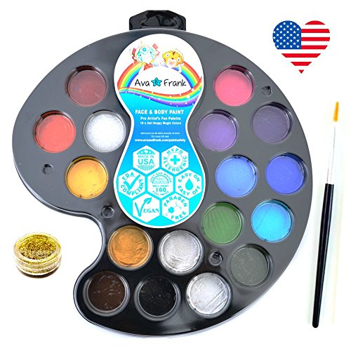[Face Painting Kit for kids and Adults, Glitter, Brush, Sponge, 16 Hypoallergenic Concentrated Colors. 100% USA Made. Top Party Face Paint Gift Set,160 Faces & FREE] (Costume Ideas For Day Of The Dead)