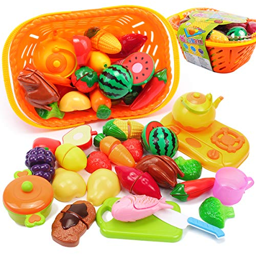 AMOSTING Kids Pretend Food Play Kitchen Toys for Kids, Plastic Food Fruit Cutting Set for Kids Play Kitchen Set, 20 Piece Kitchen Play Food for Kids Learning Gifts Early Educational Toys ()