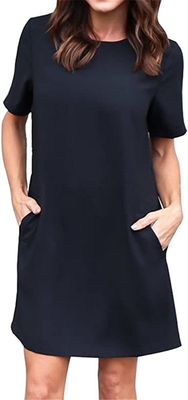 Sygoodbuy Femme Robe Droite Chic Aux Manches Courtes Mini Robe Fluide Casual Grande Taille Ete Colore Noir Taille Xl Amazon Fr Vetements Et Accessoires