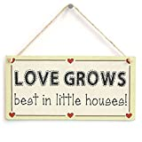 Love Grows best in little houses! - Home Sweet Home Love Heart Wood Sign Wall Plaque Wooden Hanging