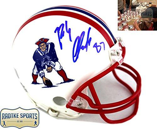 Rob Gronkowski Autographed/Signed New England Patriots Riddell NFL Throwback Mini Helmet by Radtke Sports