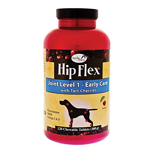 Overby Farm Hip Flex Level 1 Early Care with Tart Cherries Joint Support Supplement for Dogs, Chewable Tablets, Made in the USA, 120 Count