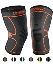Cambivo 2 Pack Compression Knee Brace Sleeve Support, Orange