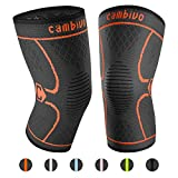 CAMBIVO 2 Pack Knee Brace, Knee Compression Sleeve Support for Running, Arthritis, ACL, Meniscus Tear, Sports, Joint Pain Relief and Injury Recovery (Large (19'' - 21''), Black/Orange)
