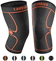 Cambivo 2 Pack Knee Support Brace for Joint Pain Relief Orange