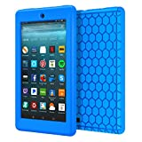 MoKo Case for All-New Amazon Fire 7 Tablet (7th Generation, 2017 Release Only) - [Honey Comb Series] Light Weight Shock Proof Soft Silicone Back Cover [Kids Friendly] for Fire 7, BLUE