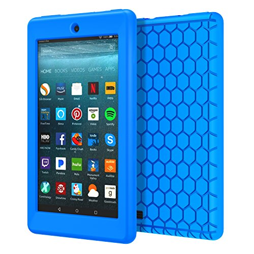 MoKo-Case-for-All-New-Amazon-Fire-7-Tablet-7th-Generation-2017-Release-Only---Honey-Comb-Series-Light-Weight-Shock-Proof-Soft-Silicone-Back-Cover-Kids-Friendly-for-Fire-7-BLUE
