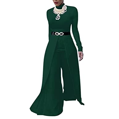a3bf1700a6 Amazon.com  Fadvanes One Piece Jumpsuits for Women Long Sleeve Elegant for  Party Wide Leg Flare Long Romper Pants Outfit  Clothing