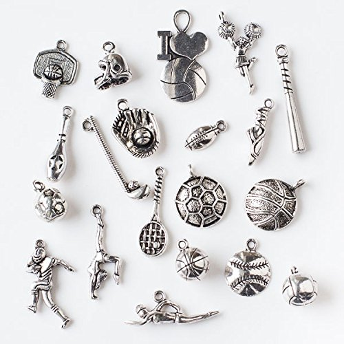 Cherry Blossom Beads An Assorted Mix of 50 Silver Pewter Sports Themed Charms ()
