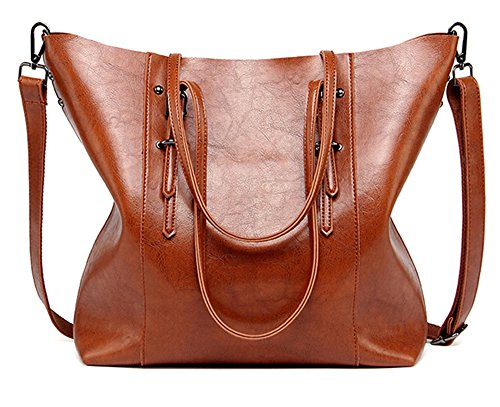 Women Handbags,Handmade Large Leather Top Handle Crossbody Shoulder Tote Satchel Messenger Bags Big Purse For Shopping Travel School (Brown) (Leather Summer Signature Handbag)