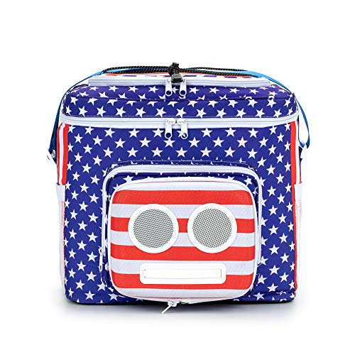 The #1 American Flag Cooler with Speakers & Subwoofer (Bluetooth, 20-Watt) for Parties/Festivals/Boat/Beach. Rechargeable Speaker Cooler, Works with iPhone & Android (2020 Edition) (Golf Bag With Built In Cooler)
