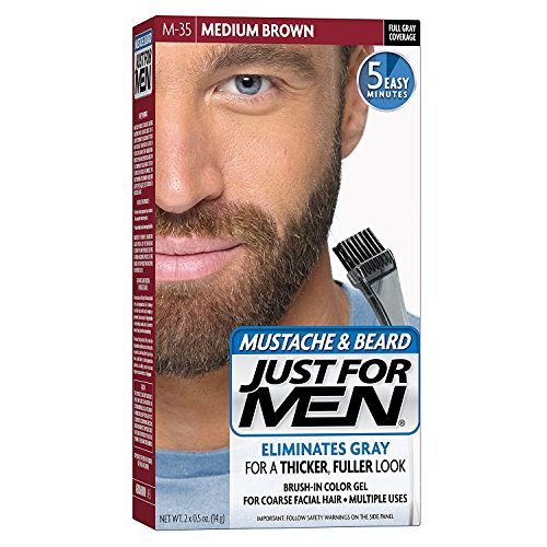 Just For Men Brush-In Color Mustache & Beard - Medium Brown - 2 pk