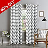 FlamingoP Light Blocking Energy Efficient Chevron Insulated Blackout Drapes Printed Window Curtains for Living Room, Grommet Top, Set of Two Panels, each 96 by 52- Dove Gray