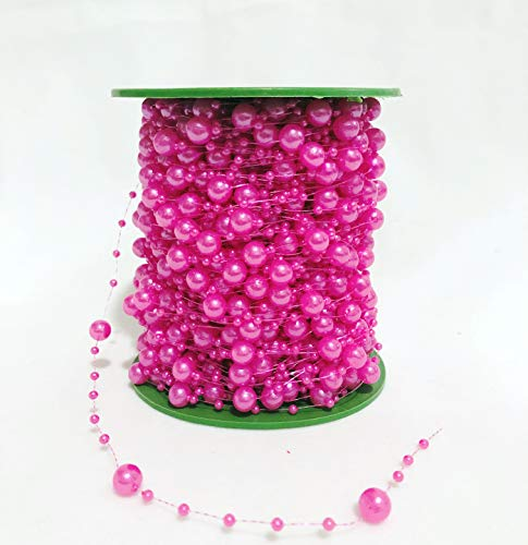 200 Feet Pearl Bead Roll Faux Pearls Beads String by The Roll Faux Crystal Beads Garland ABS Cuttable for Christmas Tree, Valentine, Exhibition, Wedding, Clothing, Costume, DIY Decoration (Rose -