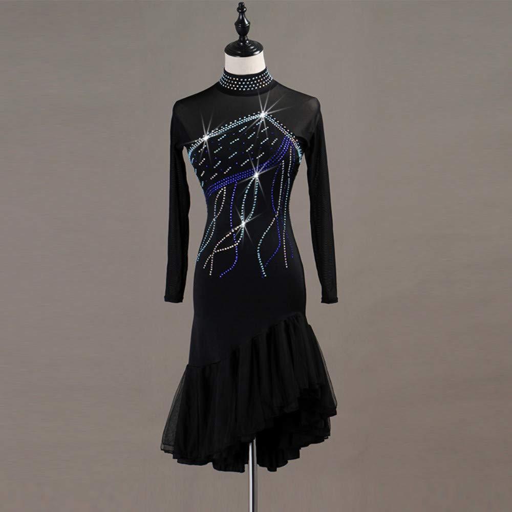 【売り切り御免!】 ラテンダンスドレス女性のトレーニングパフォーマンススパンデックスチュールクリスタルラインストーン長袖ハイドレス B07PC18NL7 Small Black Black Small, テラネット:a707495a --- a0267596.xsph.ru