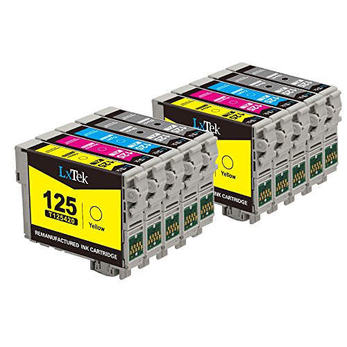 LxTek Remanufactured Ink Cartridge Replacement Set For Epson 125 (4 Black|2 Cyan|2 Magenta|2 Yellow) 10 Pack T125120 Compatible With Epson InkJet Stylus NX130 NX230 NX530 NX625 Workforce 520 320 325