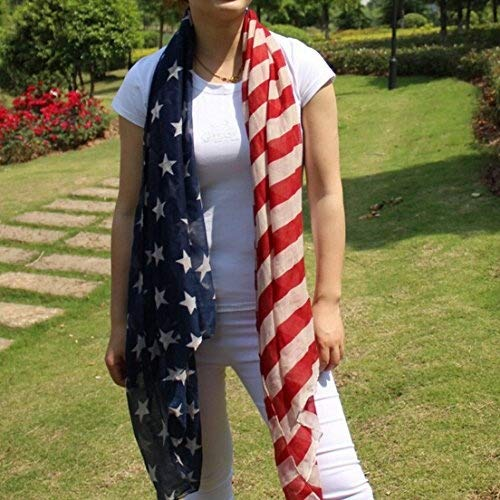 Ebuyingcity Stars and Stripes Large Patriotic Nautical American Scarf Fashion Charming US Star Flag Shawl Wrap, Sarong - Flag Scarf