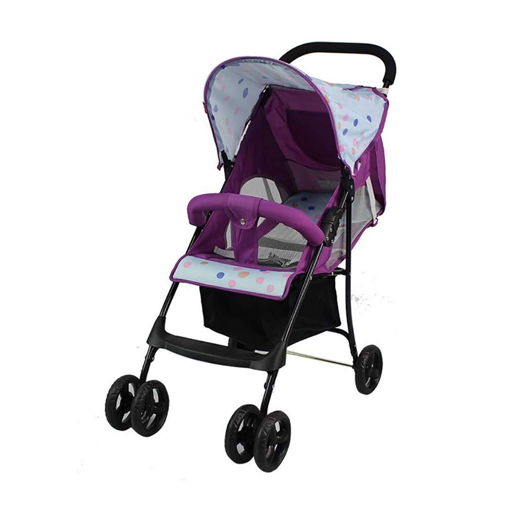 ZUOANCHEN ベビーカー、ベビーカー折りたたみベビーカーライトベビーカーを座って置くことができる折りたたみ式四輪赤ちゃん、紫色をリクライニング座ってすることができます。 (色 : A)  A B07QDYNBF2
