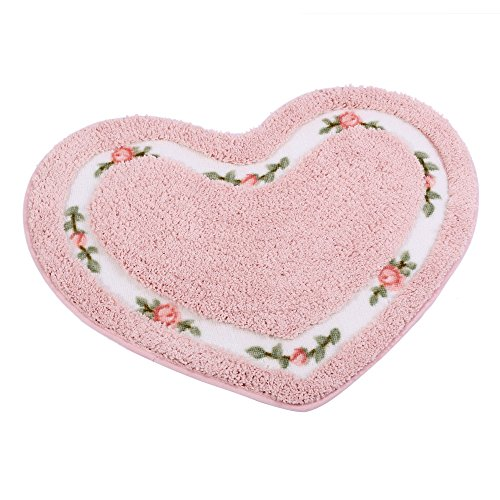 JSJ_CHENG Small Lover Non-slip Cute Rose Floral Area Rugs Floor Mats (Heart Shape 19.6-inch By 23.6-inch, Pink)