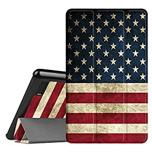 Fintie Slim Case for All-New Amazon Fire 7 Tablet (7th Generation, 2017 Release), Ultra Lightweight Slim Shell Standing Cover with Auto Wake / Sleep, US Flag
