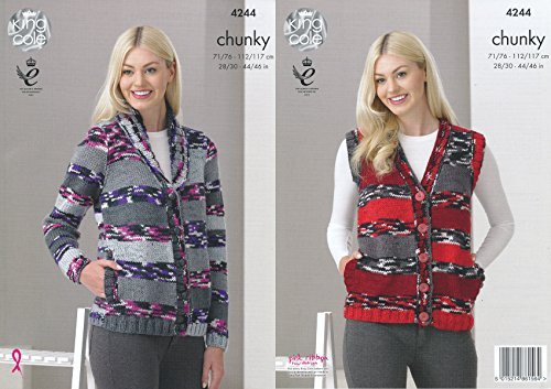 King Cole Ladies Big Value Multi Chunky Knitting Pattern Cardigan & Waistcoat with Pockets (4244) by King Cole by King Cole