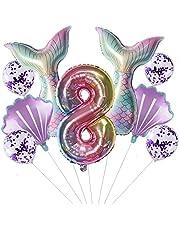 Grote zeemeermin luchtballon, set meisjes 8 jaar, kleurrijk, kinderverjaardag, decoratie, meisjes, zeemeermin, ballon, 8e verjaardag, decoratie, meisjes, zeemeermin, themafeest, decoratie, 8 jaar, ballonnen, nummer 8