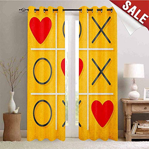 (Hengshu Love Customized Curtains Tic-Tac-Toe Game with XOXO Design Let Me Kiss You Valentines Romantic Illustration Window Curtain Drape W84 x L108 Inch Yellow Red )