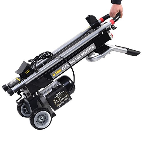 1500W Electric Hydraulic Wood Log Splitter 6 Ton Maximum Splitting Force Powerful Portable Machine Cutter Waterproof And Rustproof Perfect For Home With Wood Burning Stove