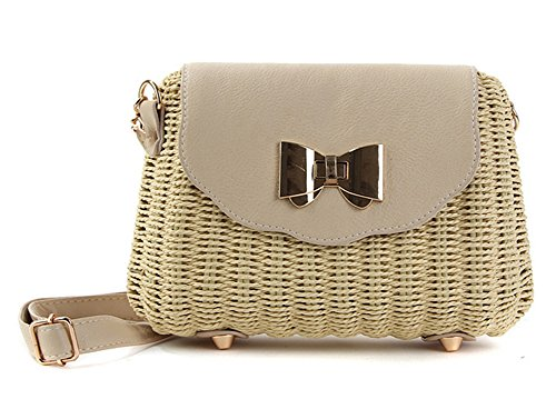 Messenger Tonwhar Straw Shoulder for Lady's Woven Summer Bag Retro Beige qgg6BXw